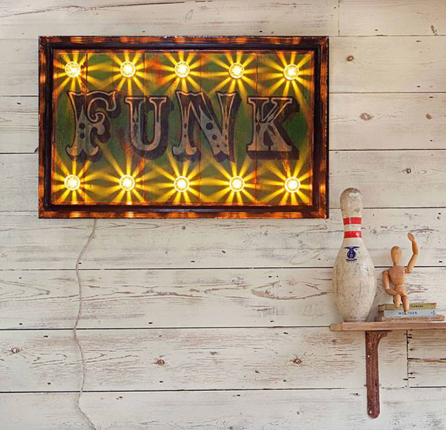 Vintage-style light up circus signs by Argent and Sable