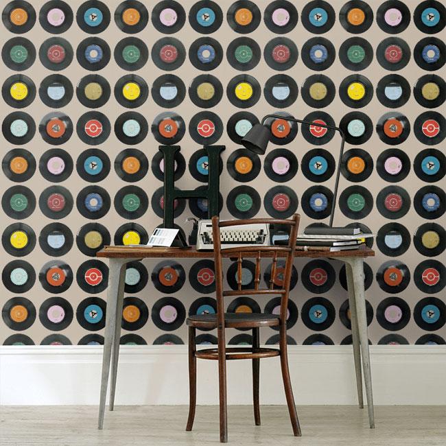 Vinyl-inspired Sevens wallpaper by Ella Doran