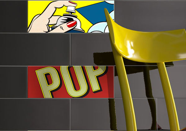 Roy Lichtenstein-inspired Pop tiles by Imola