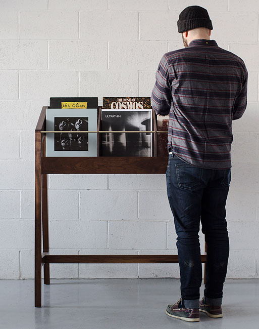 Handmade midcentury record display units by Kai Takeshima