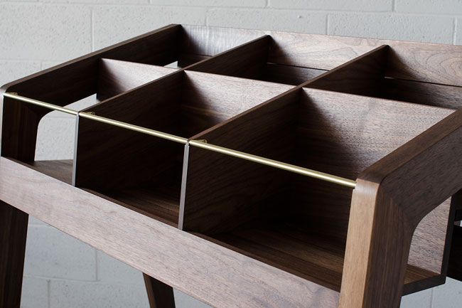 Handmade midcentury record display units by Kai Takeshima