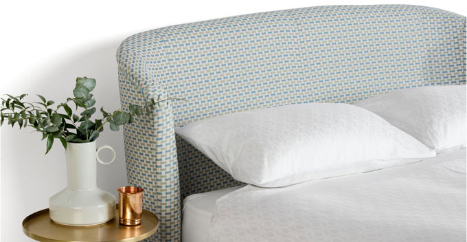 Lulu midcentury-style bed in Honeycomb Weave at Made