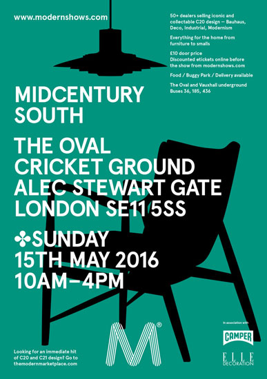 For the diary: Midcentury South at the Oval Cricket Ground. London SE11