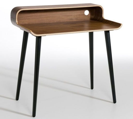 Retro office: Vernan Walnut Veneer Desk at La Redoute