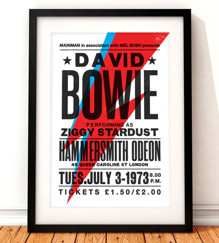 David Bowie Ziggy Stardust concert poster by The Indoor Type
