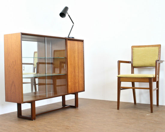 Vintage teak and glass display cabinet