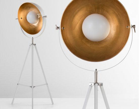 Vintage-style Chicago tripod floor lamp now in a grey and brass finish at Made