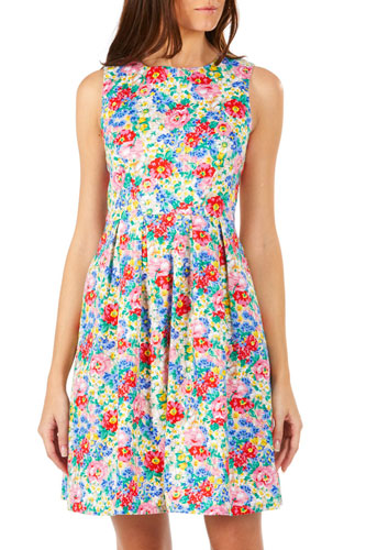 Vintage-style Hatty floral garden dress at Sugarhill Boutique