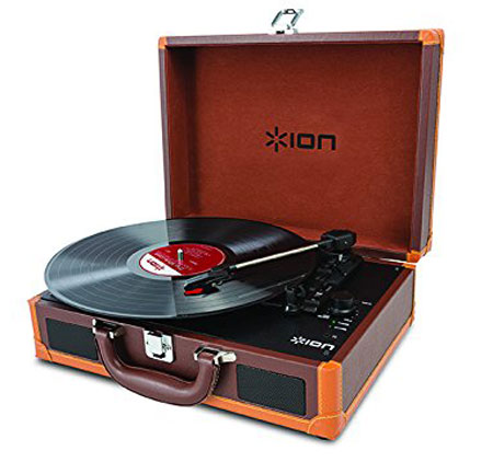 ION Audio Vinyl Motion Deluxe portable record player with rechargeable battery