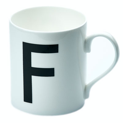 Johnston Typeface mugs at the London Transport Museum Shop
