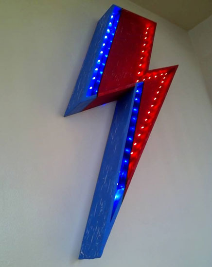 David Bowie-inspired Lightning Bolt LED light by Blackstar Displays