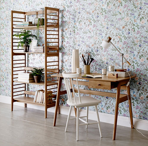 Retro office: Ercol for Marks and Spencer midcentury-style desk and bookcase