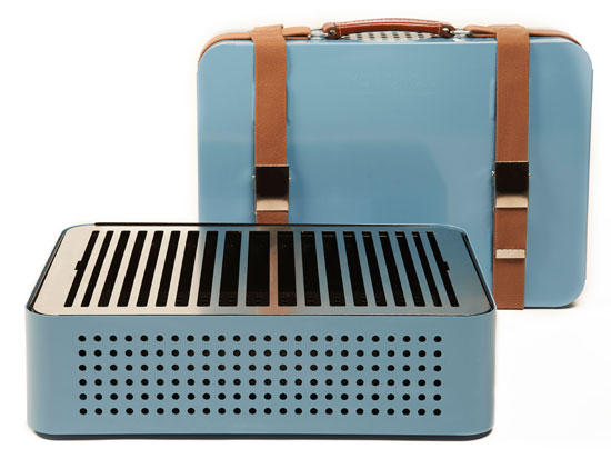 Mon Oncle retro-style portable barbecue - shaped like a vintage suitcase