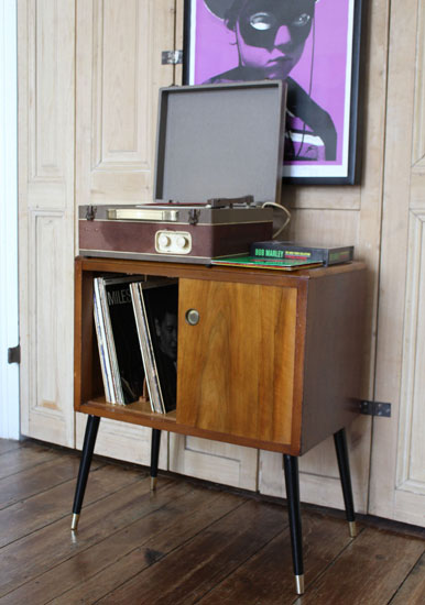 Midcentury-style record storage cabinet