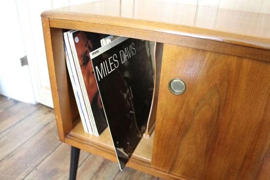Midcentury-style record storage cabinet