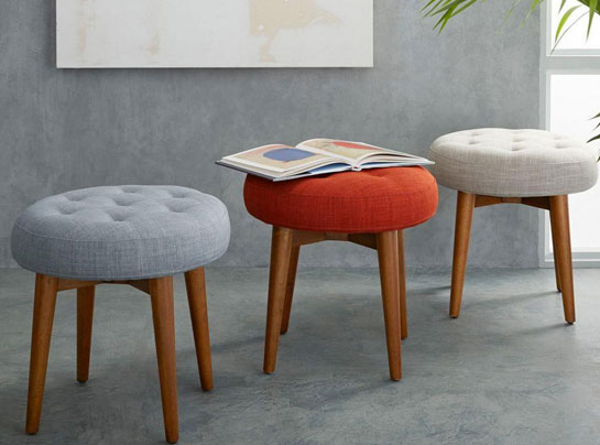 Mid-Century Upholstered Stool at West Elm