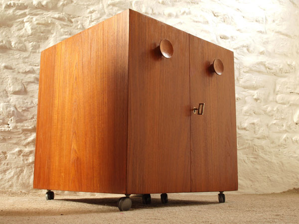 1960s Erick Buch for Dyrlund Danish folding bar cabinet