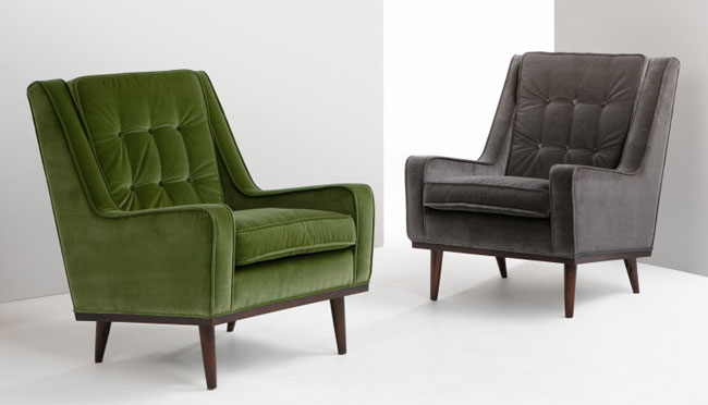Midcentury-style Scott armchair and sofa returns to Made in new velvet finishes