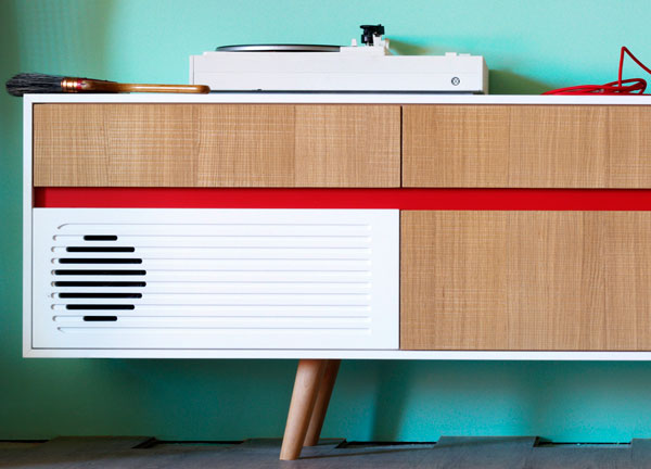 Miniforms midcentury-style Skap sideboards with built-in audio