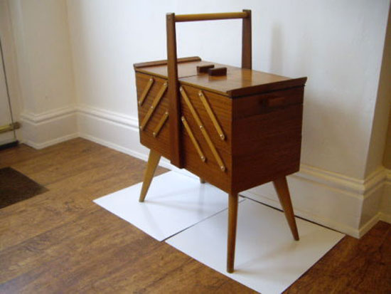Midcentury-style teak sewing box