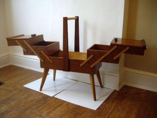 Midcentury-style teak sewing box