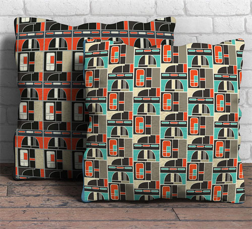 Architectural cushions: Manchester Modernist Collection by Gail Myerscough