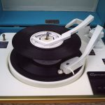 1962 Dansette Tempo record player in light blue