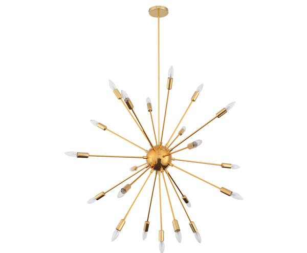 Sputnik-style Quasar Gold Chandelier at Dot and Bo