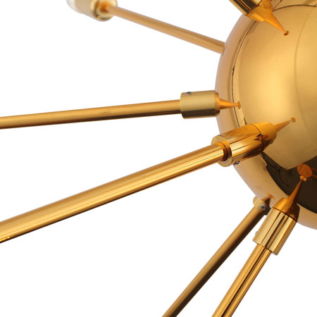 Sputnik-style Quasar Gold Chandelier at Dot and Bo