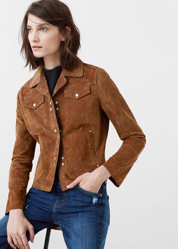 Vintage-style suede jacket at Mango