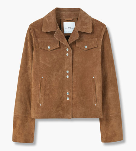 Vintage-style suede jacket at Mango