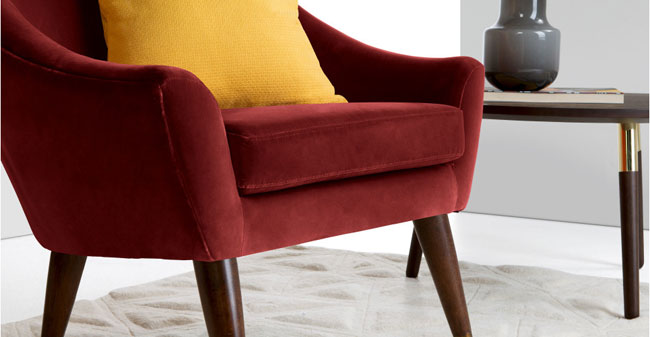 1960s-style Seattle armchairs in velvet at Made