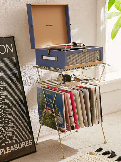 Vintage-style vinyl storage racks at Urban Outfitters