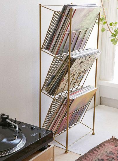 Vintage-style vinyl storage racks at Urban Outfitters