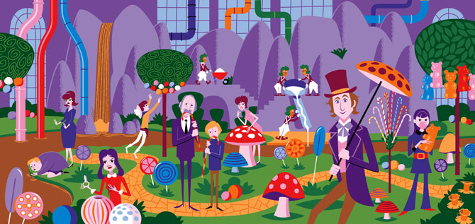 Limited edition Willy Wonka & The Chocolate Factory prints by Shag for Dark Hall Mansion