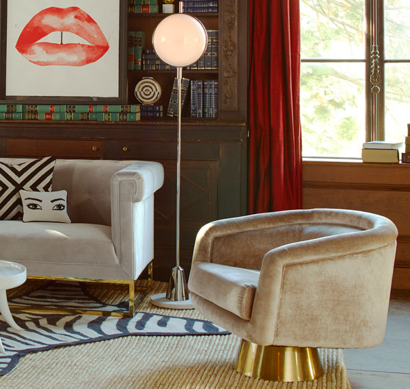 1970s-inspired Bacharach Swivel Chair at Jonathan Adler