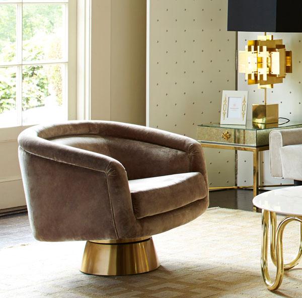 1970s-inspired Bacharach Swivel Chair at Jonathan Adler