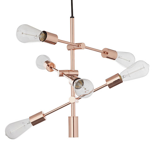 House by John Lewis Elias retro ceiling light in copper