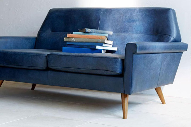 1960s-inspired Denmark leather sofa at West Elm