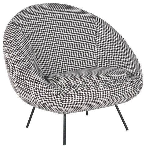 1960s-style Misty black and white dogtooth fabric armchair and footstool at Habitat