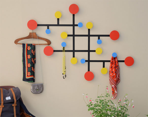 Mondrian-inspired Piet coat stand by Presse Citron