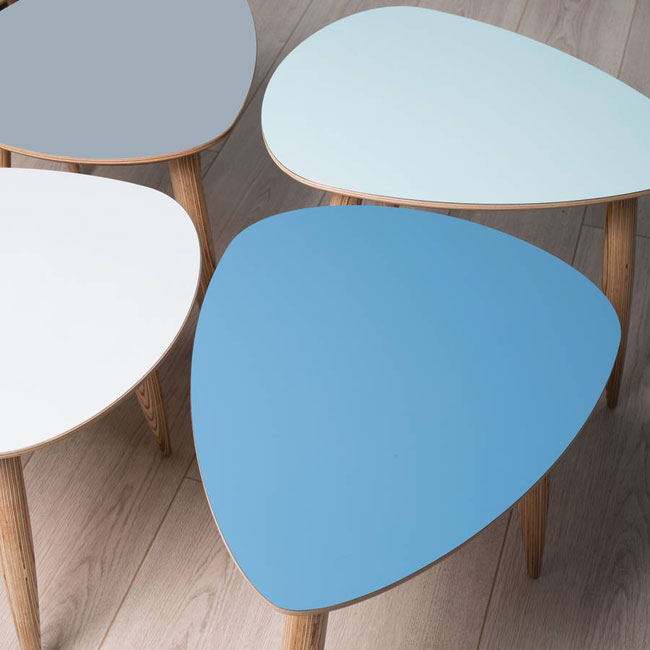 Pebble-shaped midcentury side tables by The Clementine