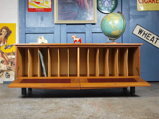 Large 1960s teak record storage cabinet