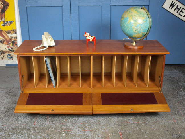 Large 1960s teak record storage cabinet