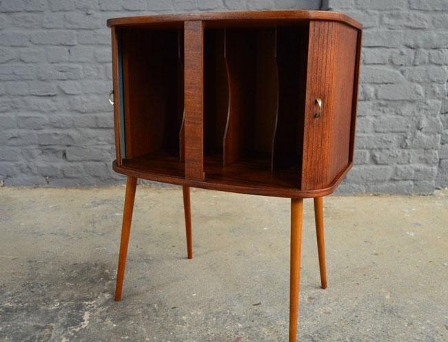 Midcentury-style vinyl storage cabinet