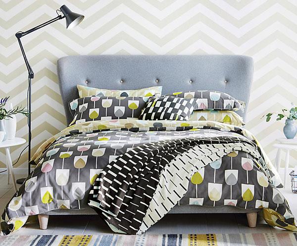Retro bedroom: Scion Sula bedding at John Lewis