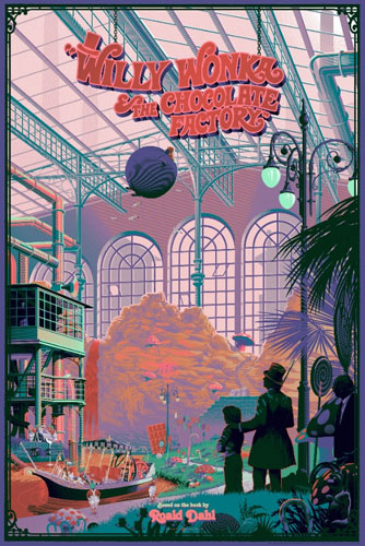 Officially licensed Willy Wonka and the Chocolate Factory prints by Laurent Durieux