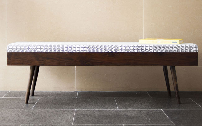 Midcentury-inspired Londress bench at Pib Home