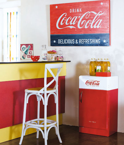 1950sstyle Coca Cola wooden storage unit at Maisons du