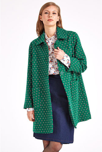 1960s-inspired Dryden tile print coat by Valley of the Dolls